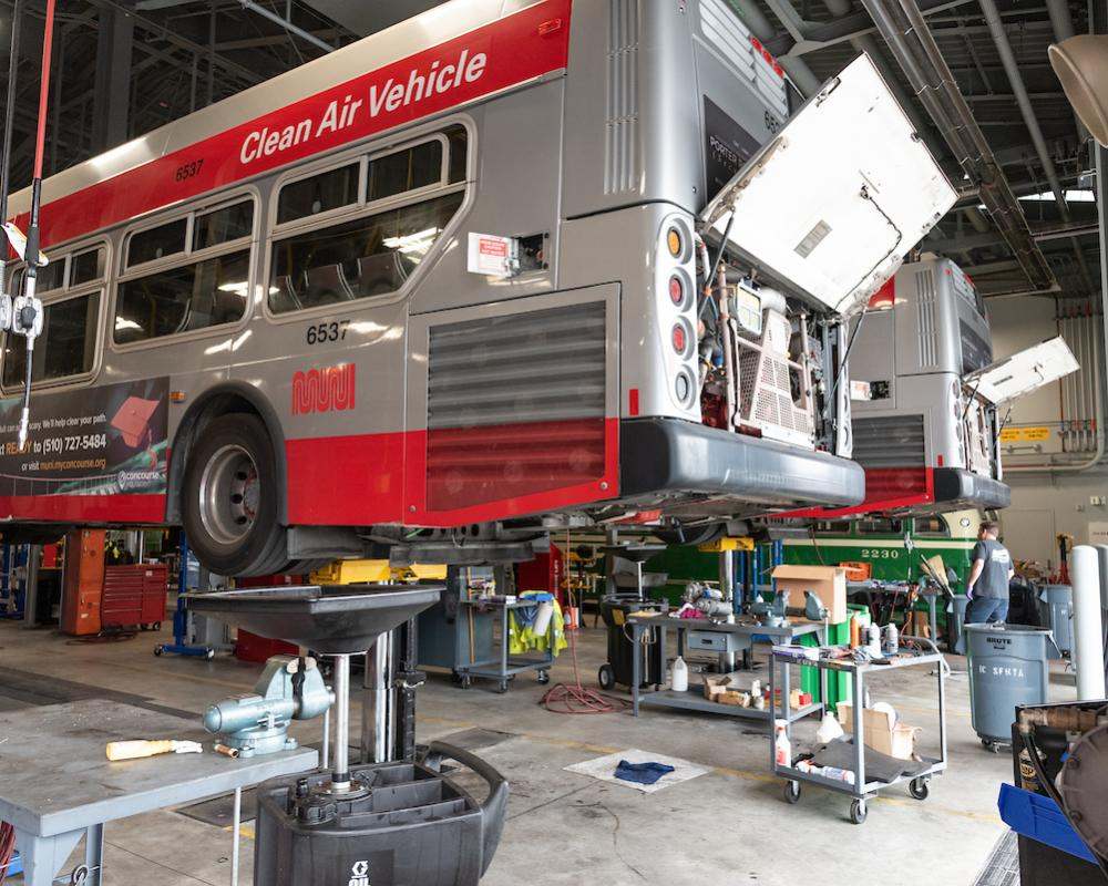 Maintenance Building - Hybrid bus on a lift