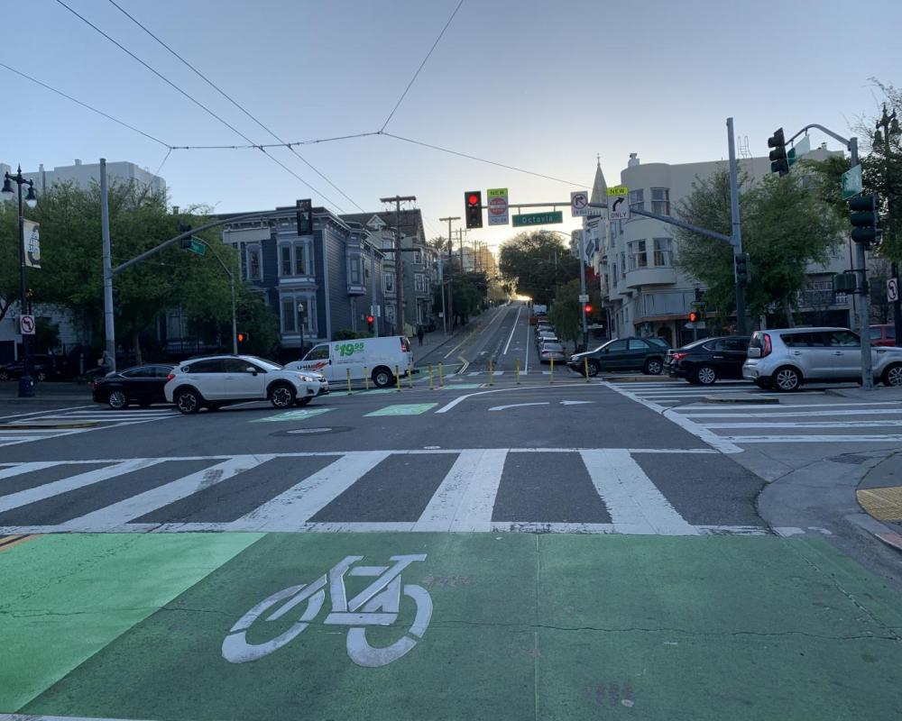 View of bikeway improvements at Page Street and Octavia, facing west