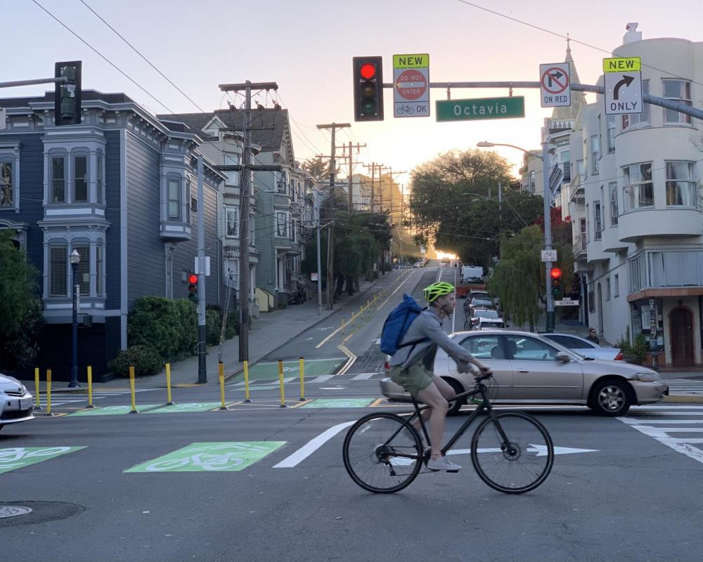 Closer view of bikeway improvements at Page Street and Octavia, facing west