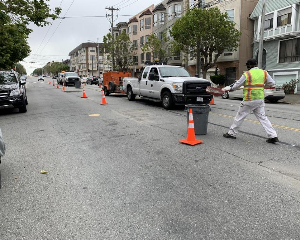 Paint Shop starting to put in new lines on California Street