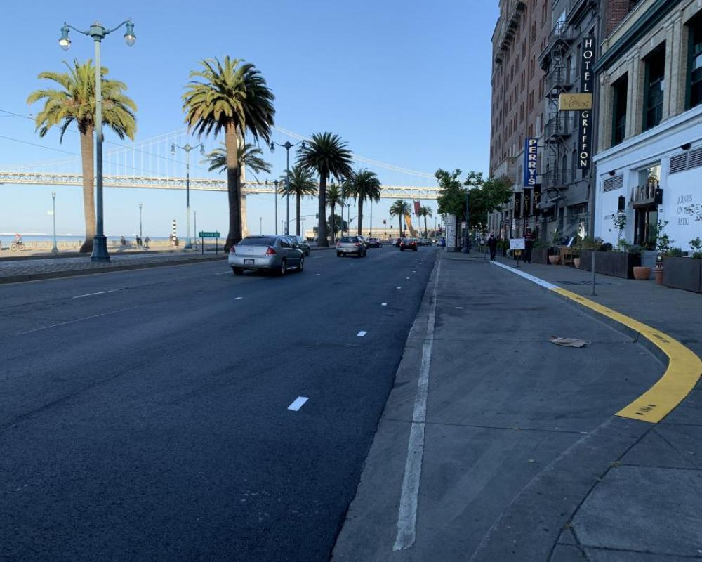 View of southbound The Embarcadero between Mission to Howard streets after the road was repaved, looking south