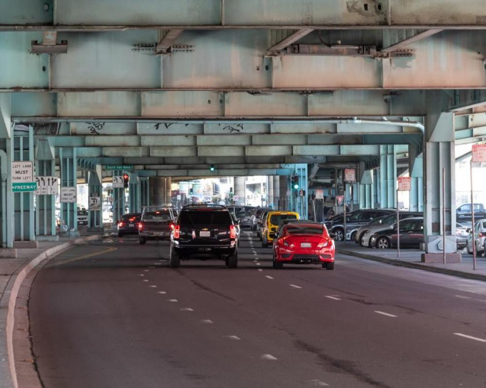 three travel lanes and one turn pocket on 13th Street