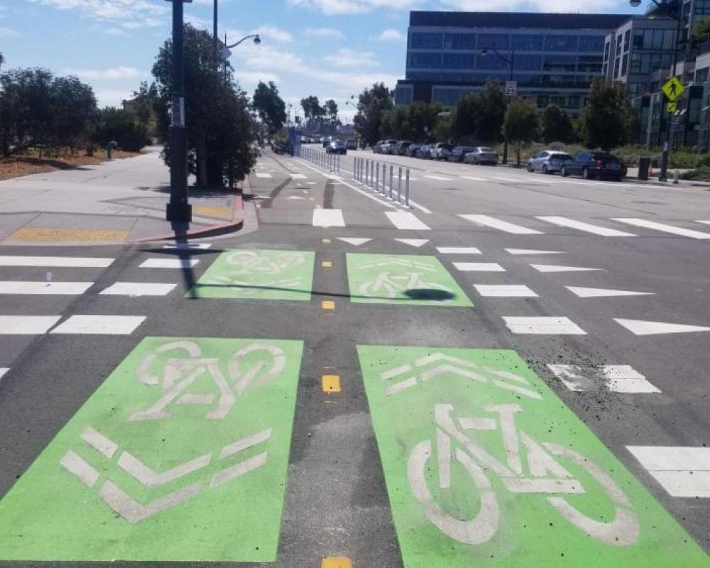 Green-backed sharrows at an intersection