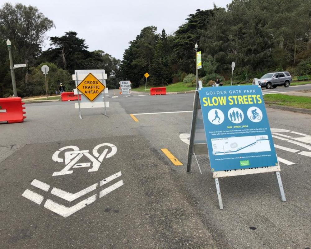 Golden Gate Park Slow Streets signs and barriers