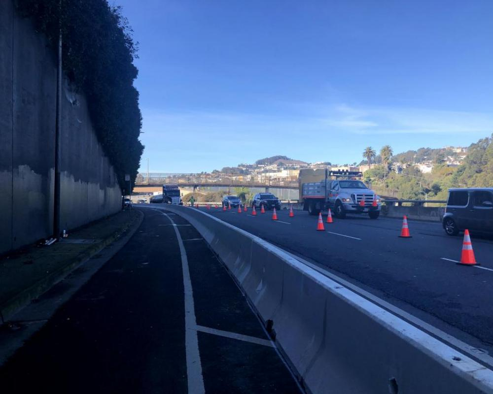 K-rail barriers being installed for protected bikeway