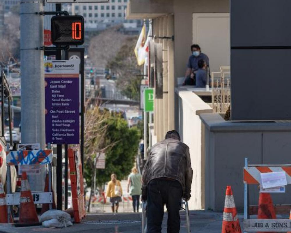 Image of new pedestrian countdown signal at Geary and Laguna.