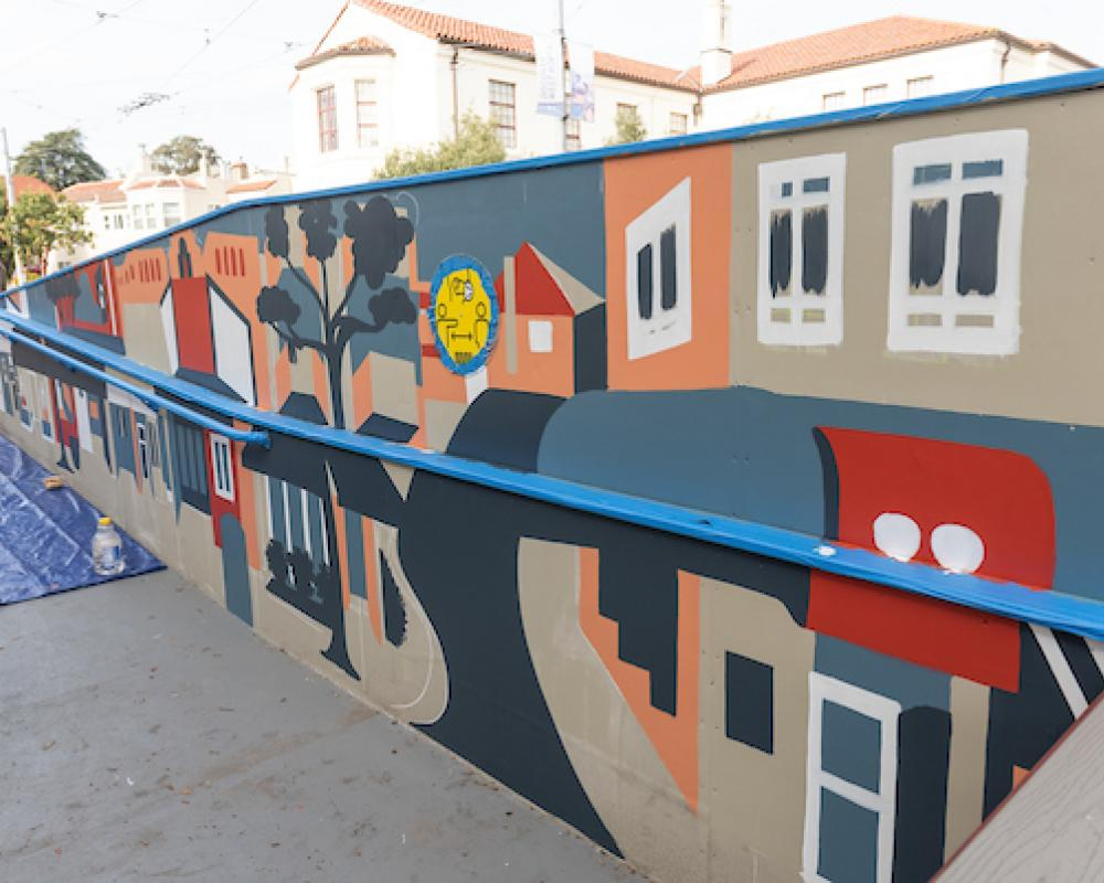 Platform mural nears completion at West Portal