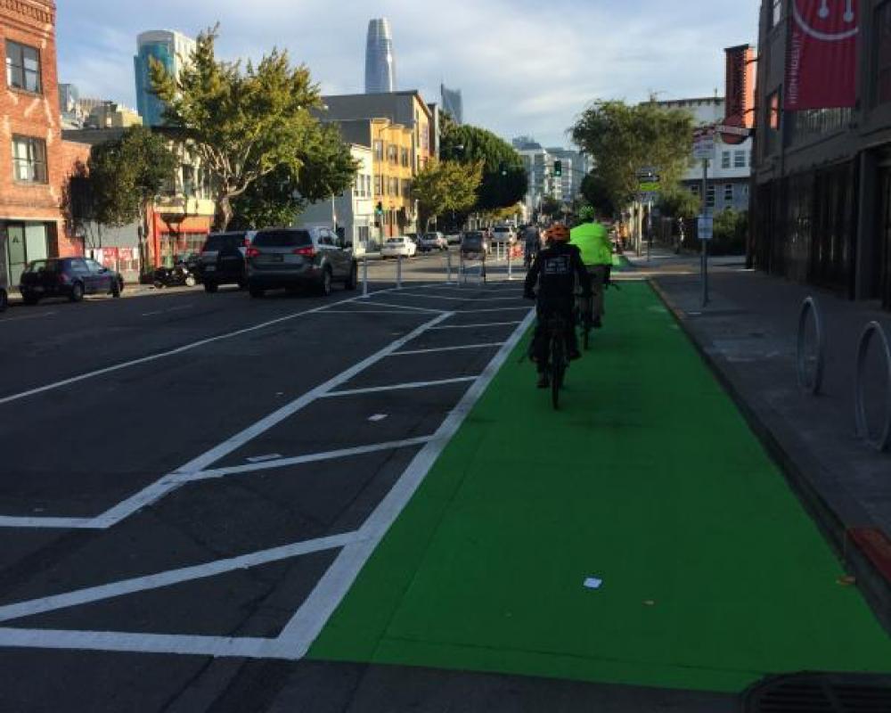 Bike lane on Folsom near Sherman streets (2017 near-term improvement)