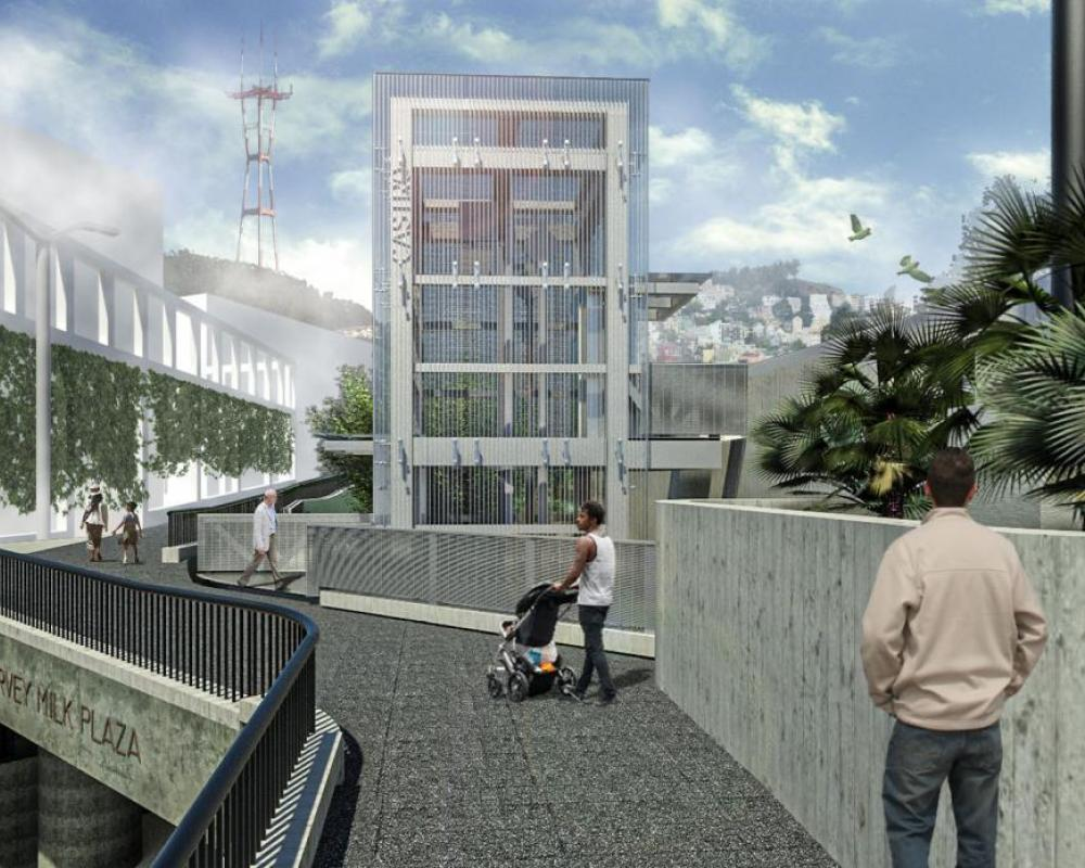 Front view of Harvey Milk Plaza with Elevator and walkway