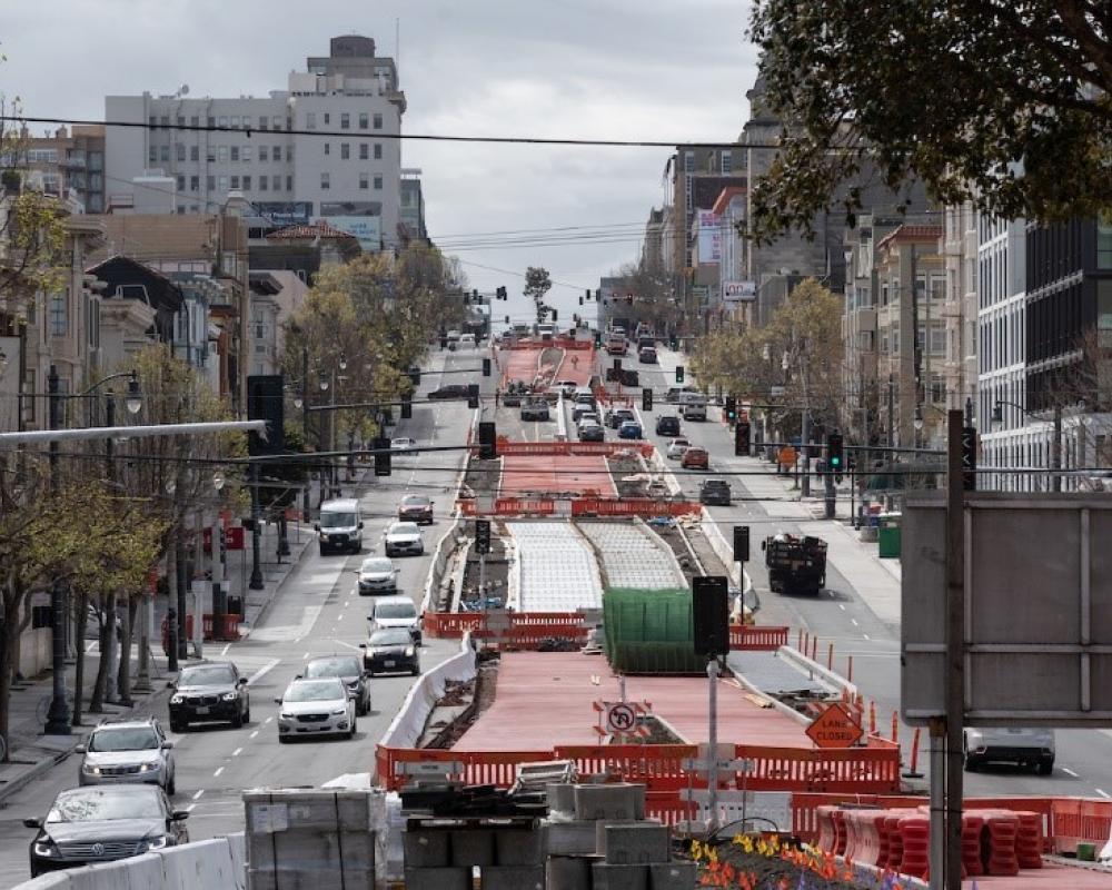 Photo of red concrete on Van Ness Avenue