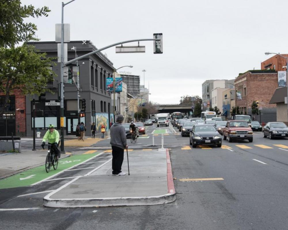 Photo of a bus boarding island on Folsom between 7th and 8th