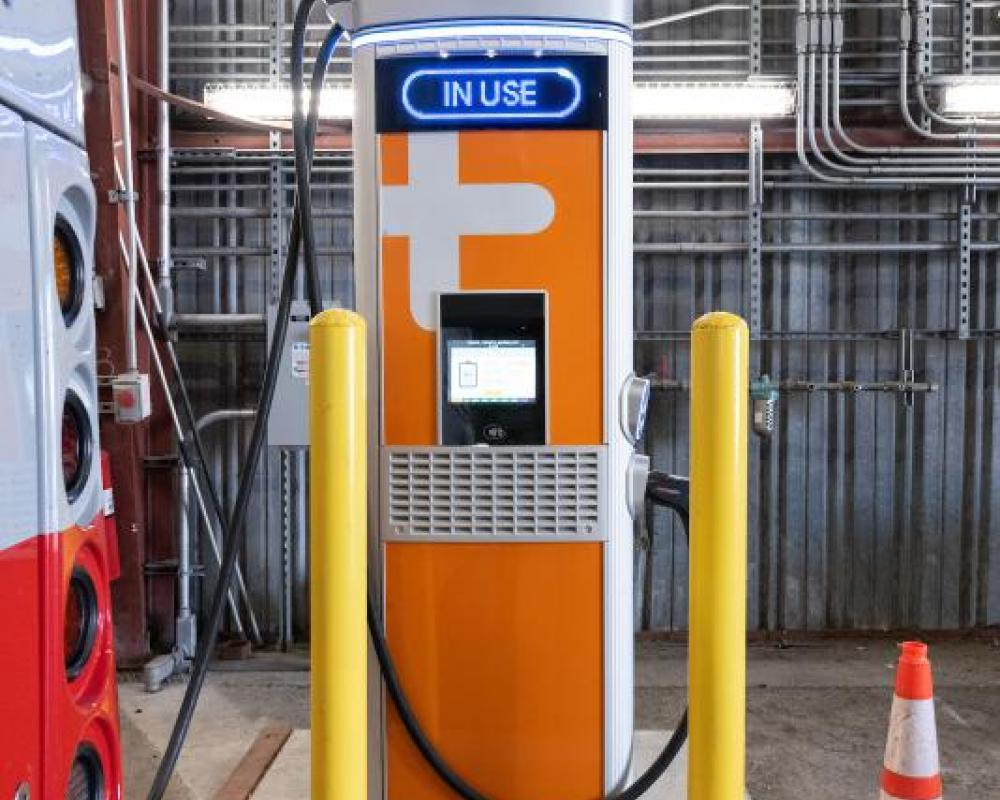 First Battery Electric New Flyer Coach Using Charging Station
