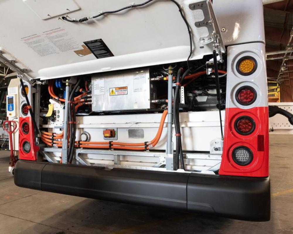 Rear Battery Units and Equipment on First Battery Electric Coach