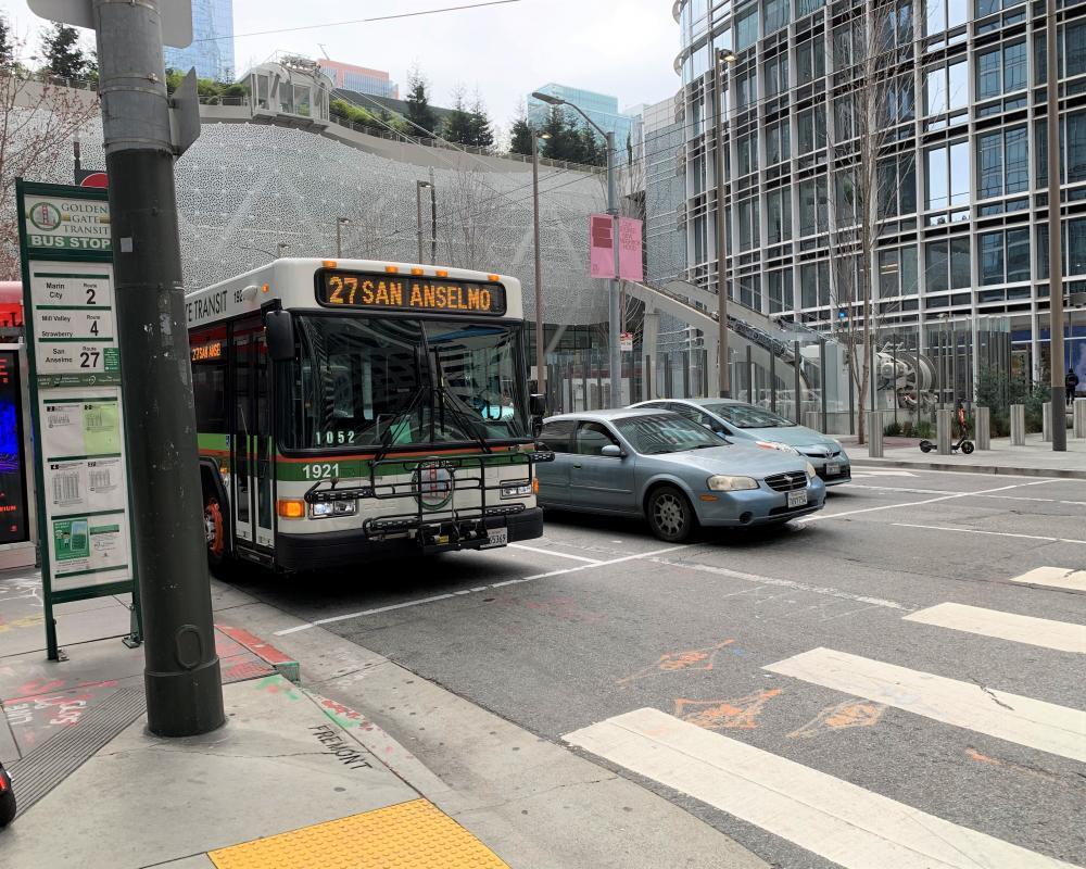 Golden Gate transit bus traveling north on Fremont Street at Mission Street