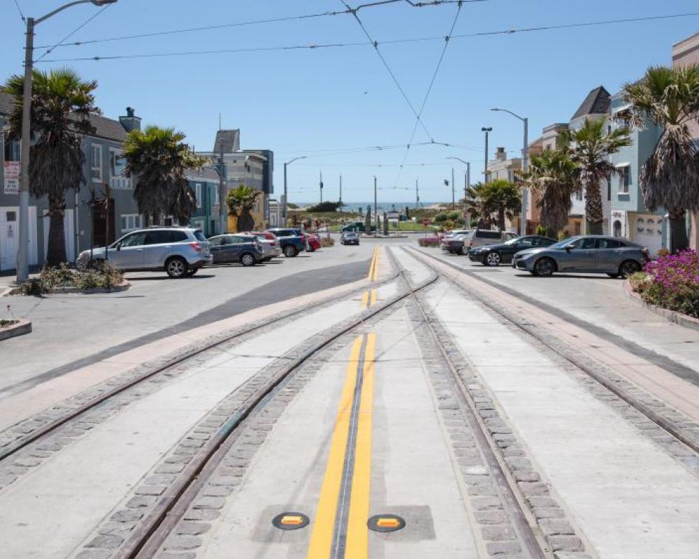 Photo of New tracks with decorative cobbles at 46th Avenue