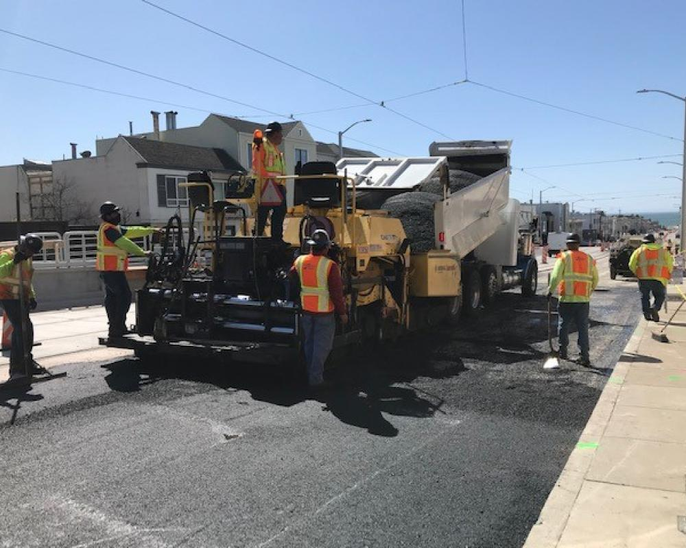 Photo of Street paving in progress on Taraval Street