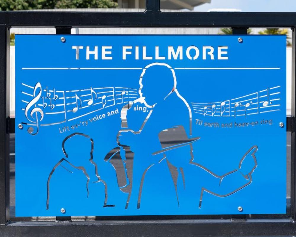 Photo of decorative panel depicting notable Fillmore figures