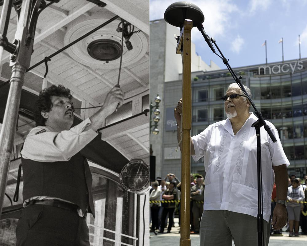 Then-and-now of champion Bell Ringer Al Quintana, left in 1982 and right in 2013, at the Annual Cable Car Bell Ringing Contest.