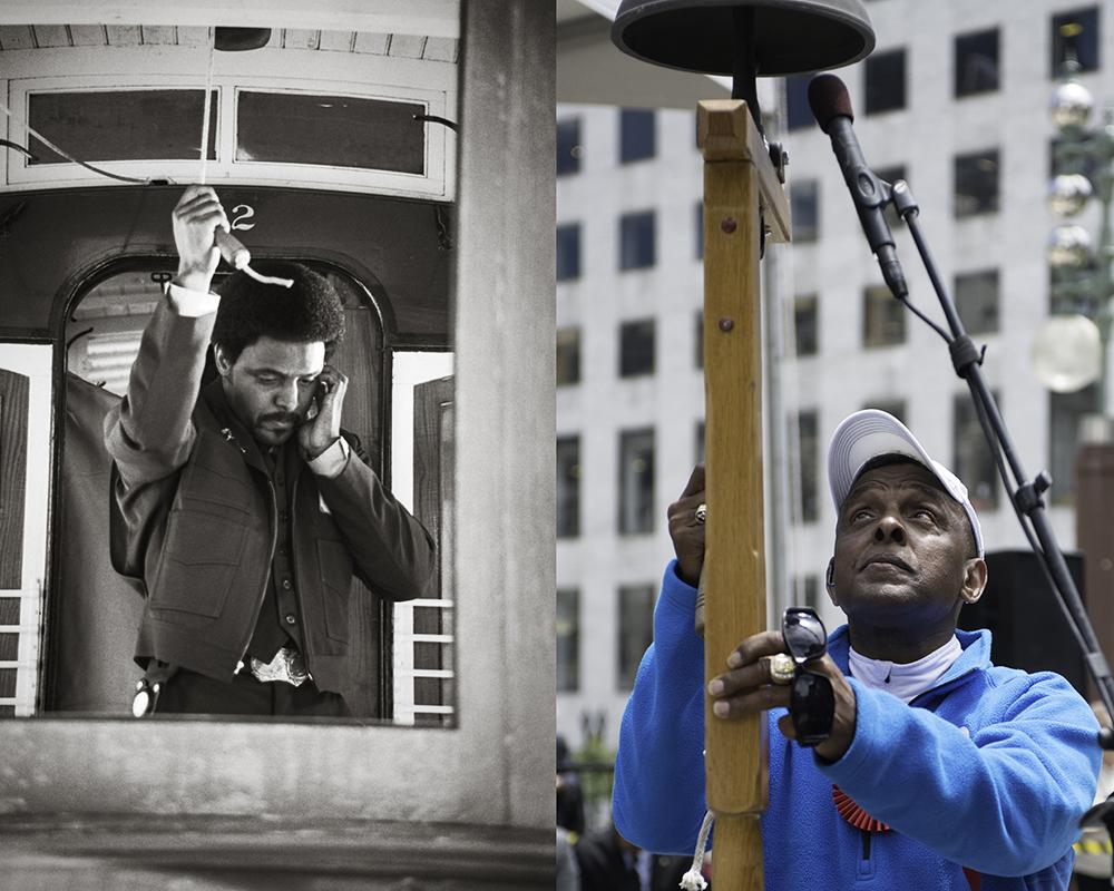 Ten-time Bell Ringing Champion Carl Payne, on the left in 1981 and on the right in 2013 at the Cable Car Bell Ringing Contest.