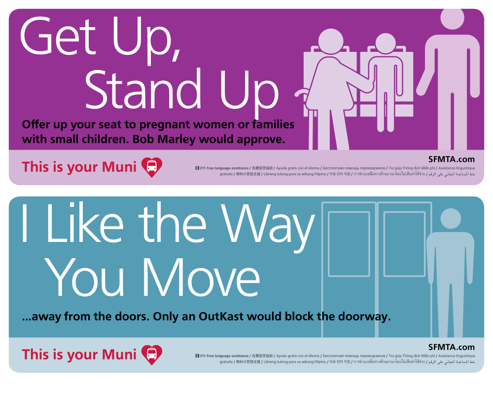 This is Your Muni cards on buses asking customers to offer up seats to others and move away from doors after boarding.