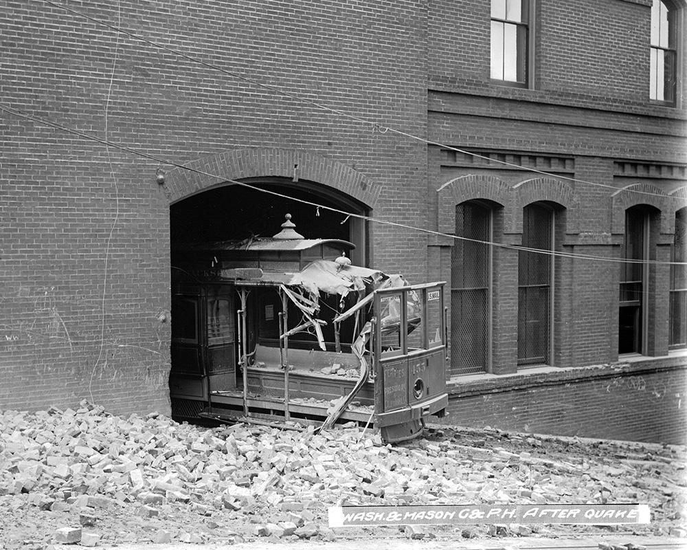 The Great Earthquake of 1906 devastated the city, including crushing this cable car outside today's Cable Car Barn and Museum.