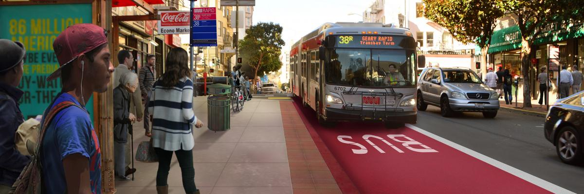 Rendered image of bus stop at Leavenworth and Geary with 38R Muni bus in background