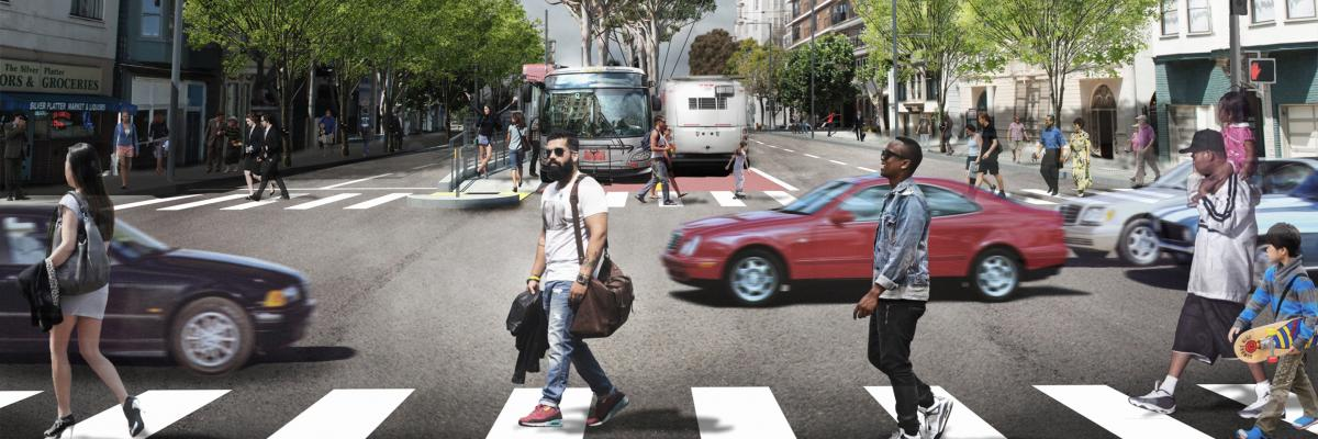Rendered image of crosswalk at Union and Van Ness with pedestrians, cars, and Muni bus in background