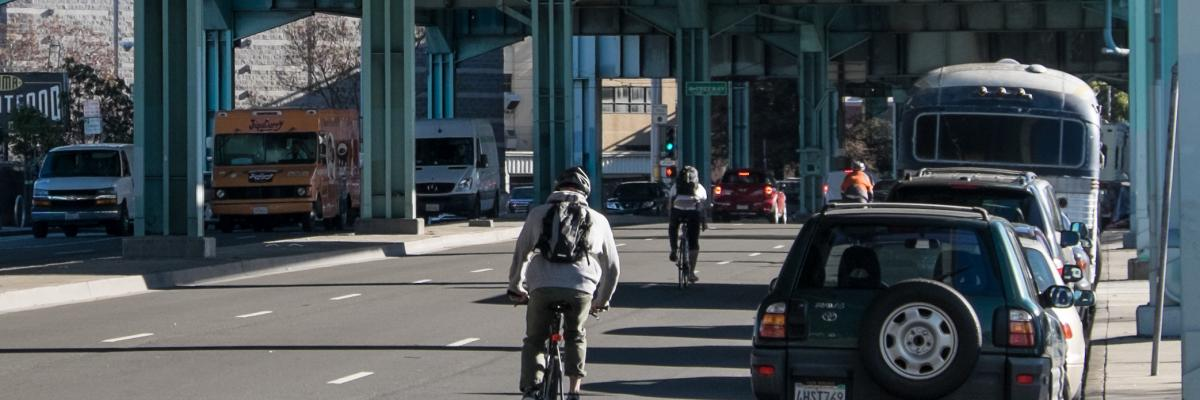 Before condition: three cyclists traveling along eastbound 13th Street