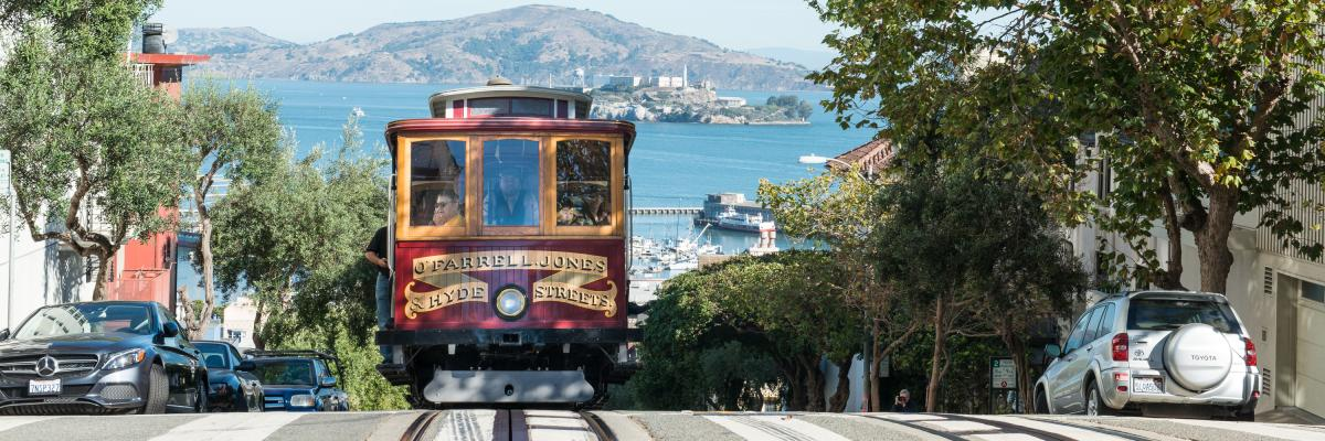 Image of Cable car with bay view