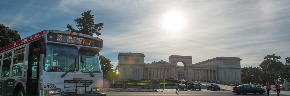 Legion of Honor Muni bus route passes the museum