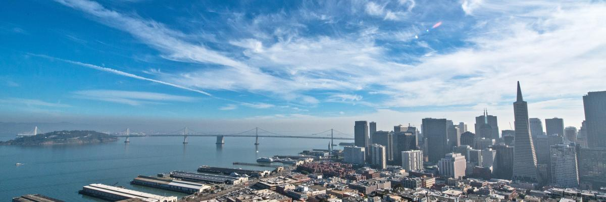A view of the San Francisco Bay, Treasure Island and the Bay Bridge