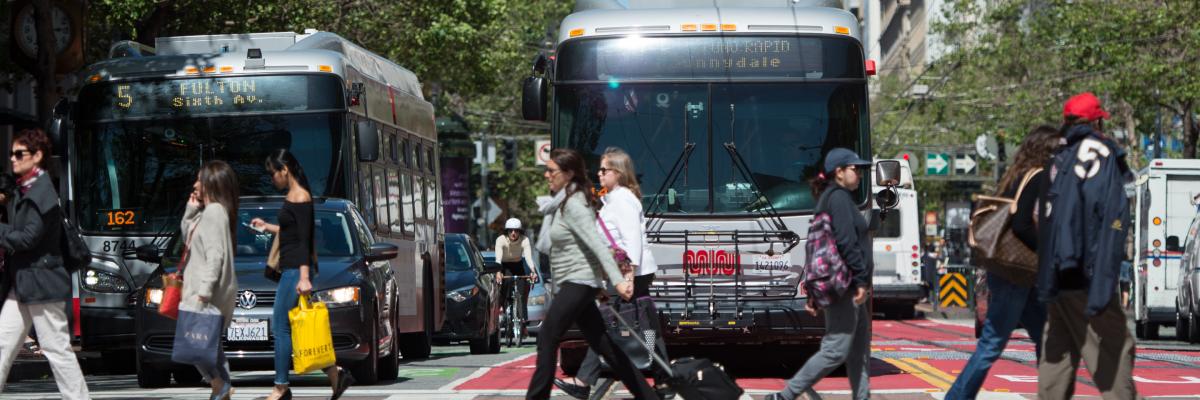 Muni hybrid buses on Market street