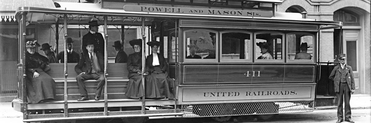 Powell and Mason Line Cable Car 411 with Passengers in April 1905