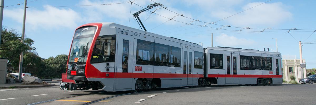 New Light Rail Car at end of N Judah Line in Sunset District