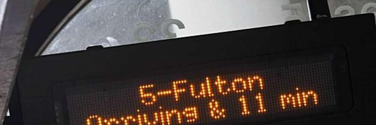 Image of NextBus digital sign showing a predicted arrival time