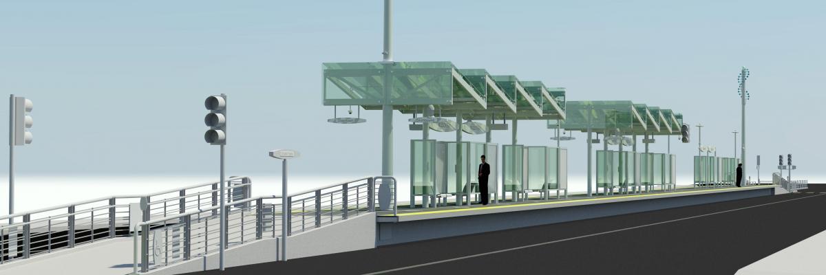 Basic rendering of the new center running platform