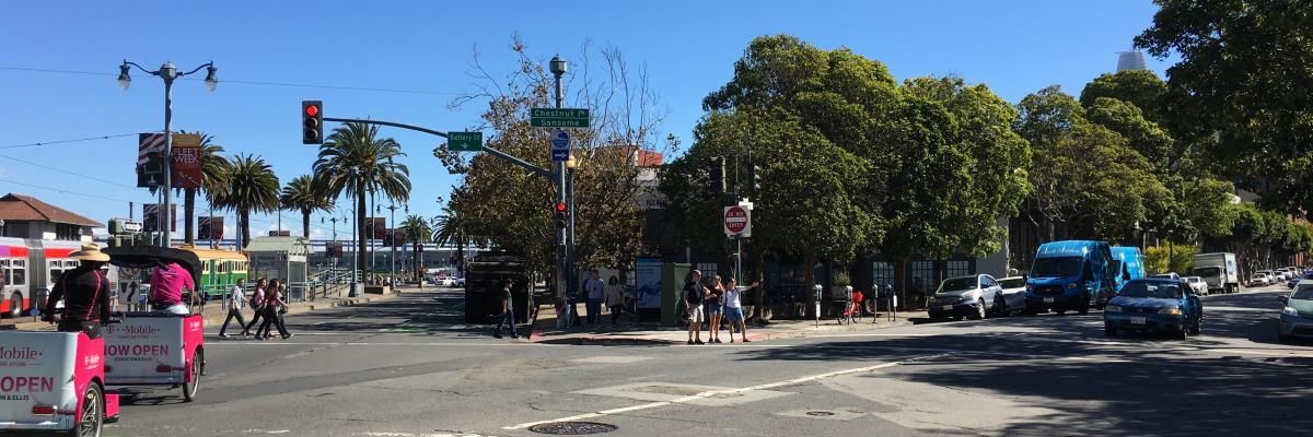 View of Chestnut/Sansome/Embarcadero intersection, facing south