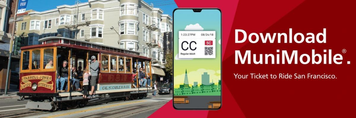 cable car and MuniMobile Ad