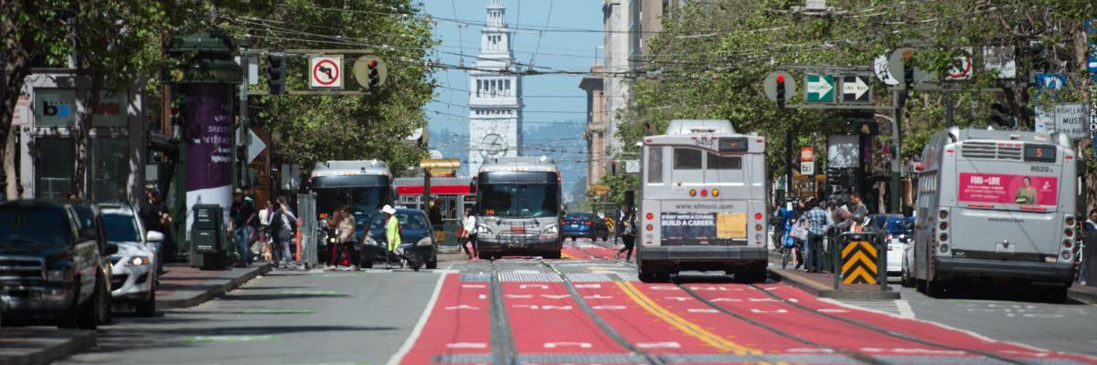 Red transit lanes on Market Street