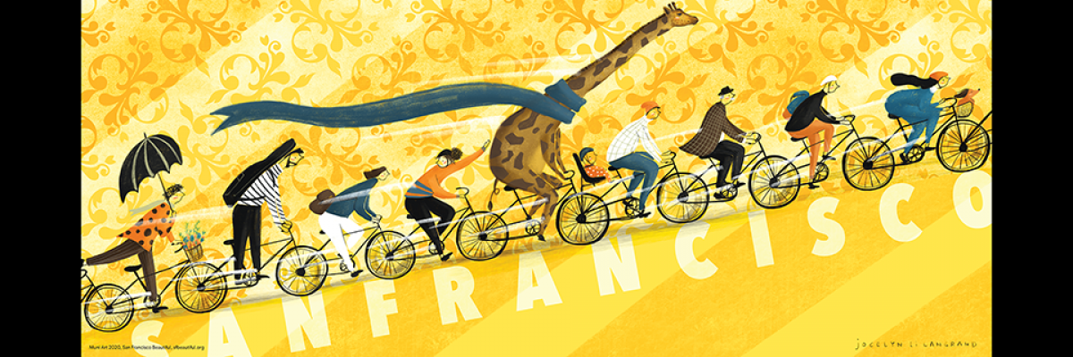 "Jocelyn Li Langrand's illustration of people and a giraffe riding bikes up a hill with ""San Francisco"" written upon it"