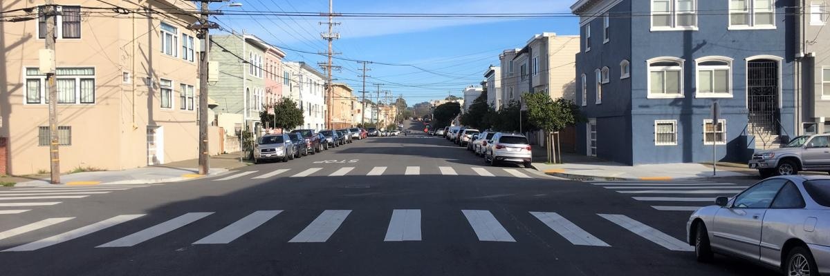 Anza Street eastbound at 20th Avenue