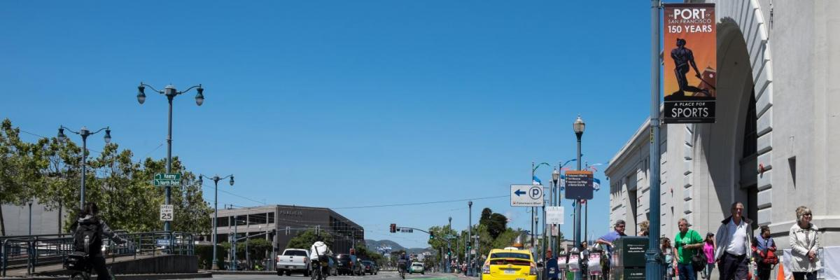 View of The Embarcadero in front of Pier 35, facing north