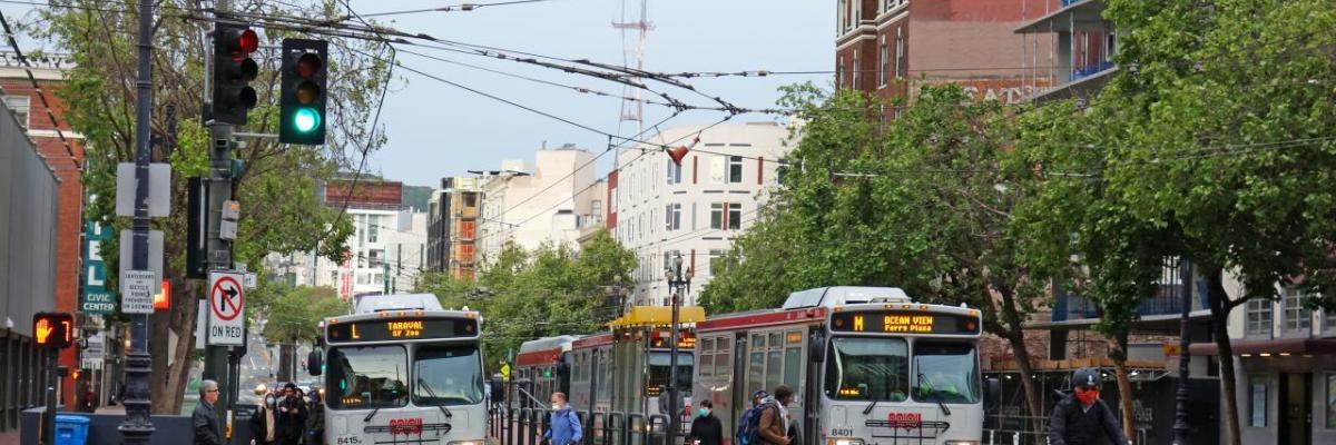 People traveling on Market Street