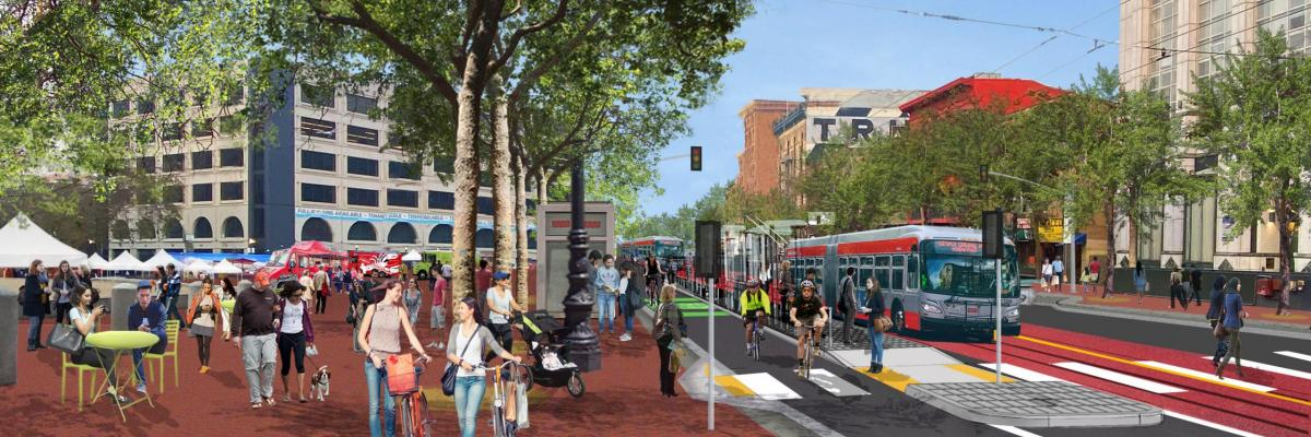 Graphic showing Market Street improvements at Civic Center