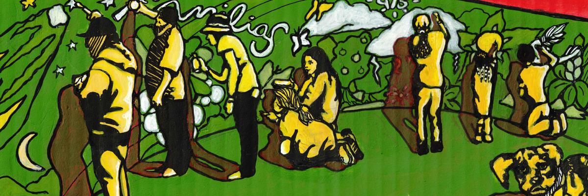 """Yellow artists create a green mural with natural shapes and the word """"familia"""" and number """"415""""; a yellow dog watches us."""