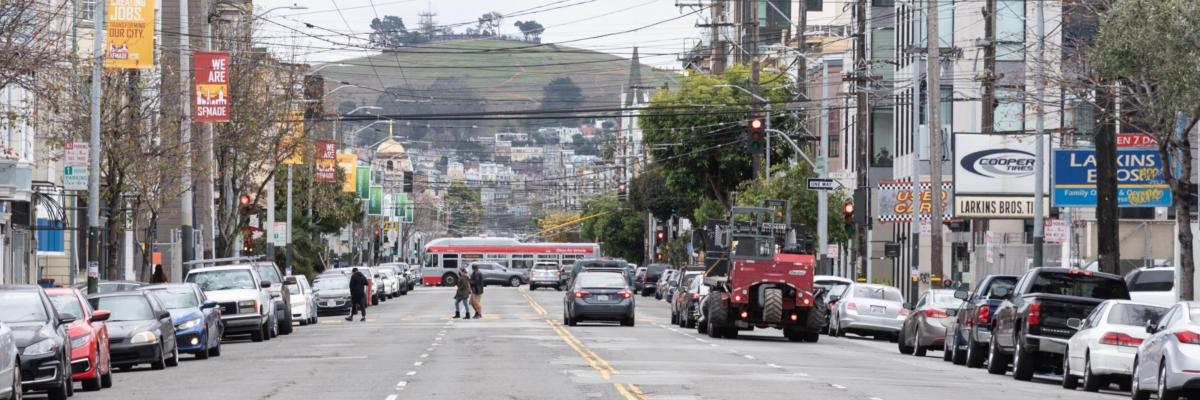 View of South Van Ness Avenue facing southward in January 2021