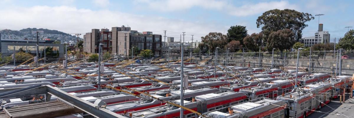 coaches parked at Potrero Bus Yard