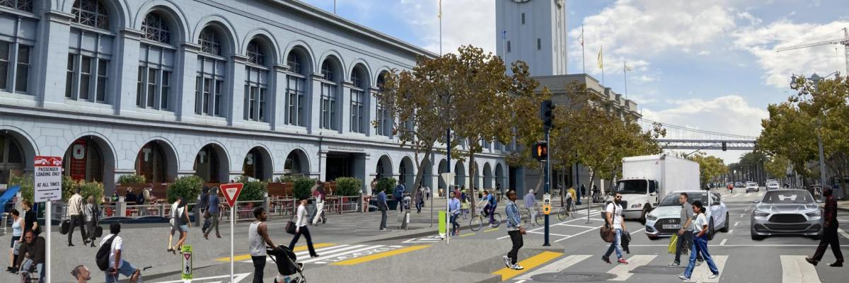 Illustrative rendering of a two-way protected bikeway in front of the Ferry Building with raised crosswalk