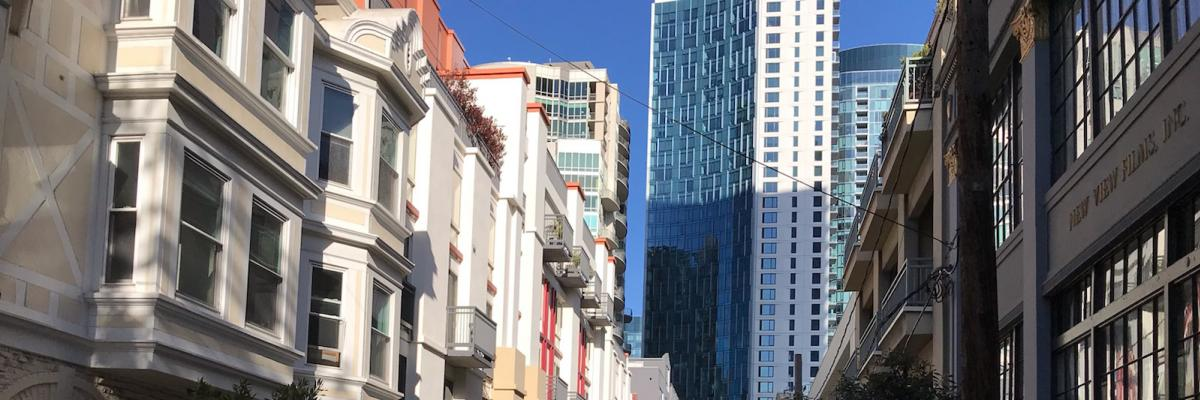 streetscape with tall buildings