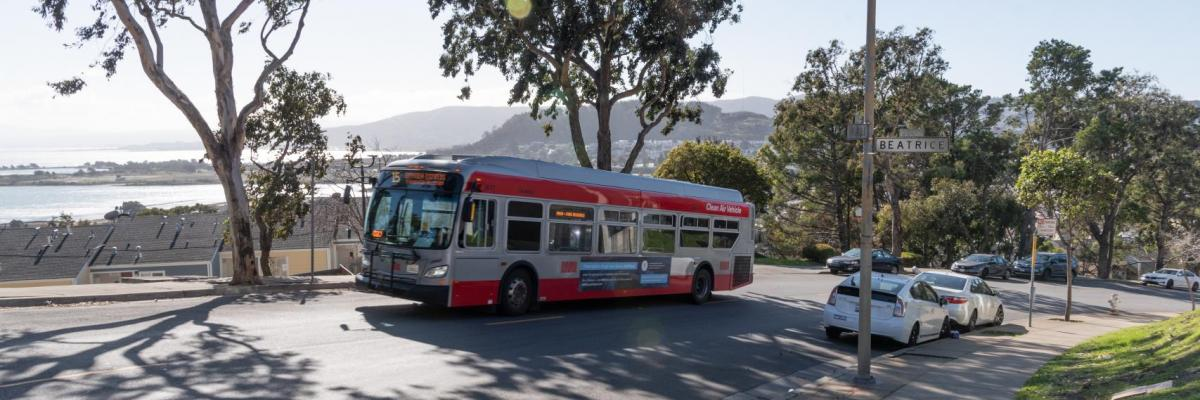 15 Bayview Hunters Point bus traveling in the Bayview district